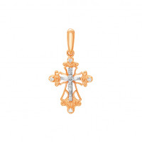 Золотой крест с бриллиантами БТ11-0212