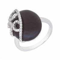 Серебряное кольцо с ониксами и фианитами СЫ21КСЖББ0049419он