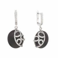 Серебряные серьги подвесные с ониксами и фианитами СЫ22КСЖББ0049419он