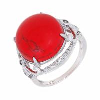 Серебряное кольцо с кораллами и фианитами СЫ21СР000735Ц196кл