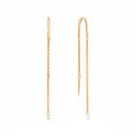 Золотые серьги протяжки с бриллиантами КТЗС91130