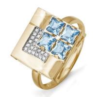 Золотое кольцо с топазами и фианитами ДП311217