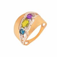 Золотое кольцо с ситалом и фианитами ДП312791