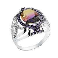 Серебряное кольцо с фианитами и кварцем плавленым РО1-035Р126