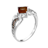 Серебряное кольцо с фианитами и кварцем плавленым РОК-3530РС107249