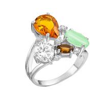 Серебряное кольцо с фианитами и кварцем плавленым РОК-3129РС9200