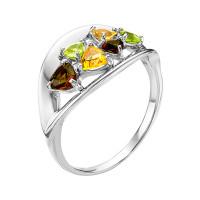 Серебряное кольцо с фианитами и кварцем плавленым РОК-3534РС1050607