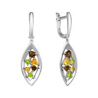 Серебряные серьги подвесные с фианитами и кварцем плавленым РОС-3534РС1050607