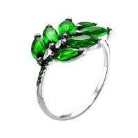 Серебряное кольцо с фианитами и кварцем плавленым РО1-024Р133