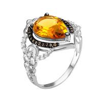 Серебряное кольцо с фианитами и кварцем плавленым РО1-015Р105