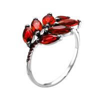 Серебряное кольцо с фианитами и кварцем плавленым РО1-024Р104