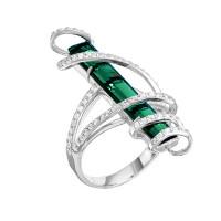 Серебряное кольцо с фианитами и кварцем плавленым РО01-2380Р132