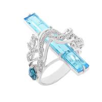 Серебряное кольцо с фианитами и кварцем плавленым РО01-2689Р102
