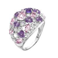 Серебряное кольцо с фианитами и кварцем плавленым РОК-3098Р01104600