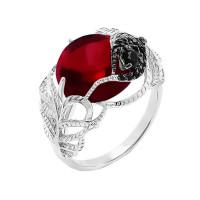 Серебряное кольцо с фианитами и кварцем плавленым РОК-3537РК104216