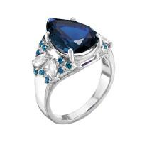 Серебряное кольцо с фианитами и кварцем плавленым РОК-3466РС108200