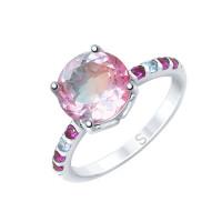 Серебряное кольцо с ситалом и фианитами ДИ92011717