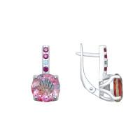 Серебряные серьги с ситалом и фианитами ДИ92021924