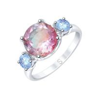 Серебряное кольцо с ситалом и фианитами ДИ92011718