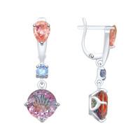 Серебряные серьги подвесные с ситалом и фианитами ДИ92021978