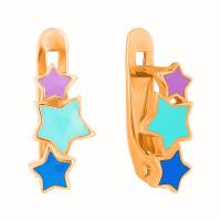 Золотые серьги детские с эмалью 3ВС101-1153М1