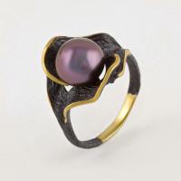 Серебряное кольцо с жемчугом и эмалью ФЖ51818Я2Б