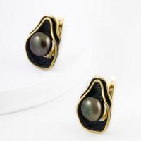 Серебряные серьги с жемчугом и эмалью ФЖ52818Я2Б