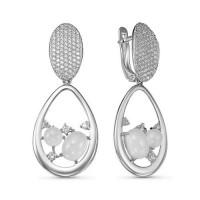 Серебряные серьги подвесные с кварцем плавленным и фианитами