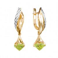 Золотые серьги подвесные с хризолитами ЮИС123-5676хр