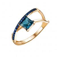 Золотое кольцо с топазами и фианитами ЮИК124-5673тл