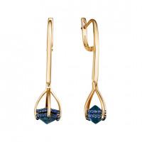 Золотые серьги подвесные с топазами и фианитами ЮИС124-5673тл