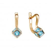 Золотые серьги с топазами свисами ЮИС122-5677ТС