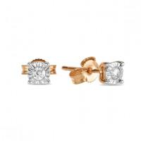Золотые серьги гвоздики с бриллиантами ЛФЕ01-Д-ПЛ-34030