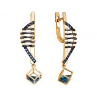 Золотые серьги подвесные с лондон топазом и фианитами ЮИС124-5683М2