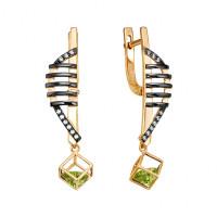 Золотые серьги подвесные с хризолитами и фианитами ЮИС124-5683хр