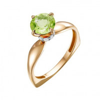 Золотое кольцо с хризолитами и фианитами ЮИК122-5681хр