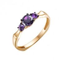 Золотое кольцо с аметистами ЮИК124-5675ам