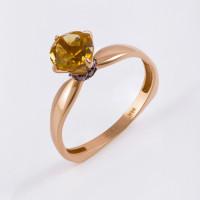 Золотое кольцо с цитринами и фианитами ЮИК124-5681М2