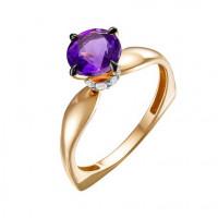 Золотое кольцо с аметистами и фианитами ЮИК125-5681ам
