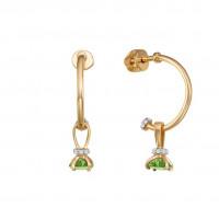 Золотые серьги подвесные с хризолитами и фианитами ЮИС122-5681хр
