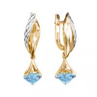 Золотые серьги подвесные с топазами ЮИС123-5676т