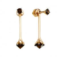 Золотые серьги гвоздики с раухтопазами