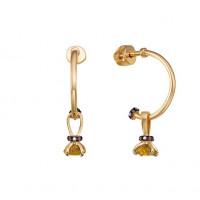 Золотые серьги подвесные с цитринами и фианитами ЮИС124-5681М2