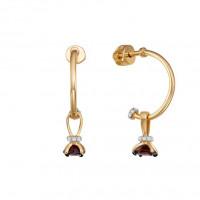 Золотые серьги подвесные с фианитами и гранатами ЮИС125-5681гр