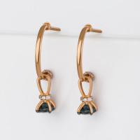Золотые серьги подвесные с топазами и фианитами ЮИС125-5681тл