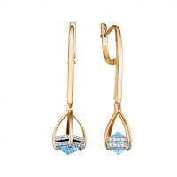Золотые серьги подвесные с топазами и фианитами ЮИС122-5673т