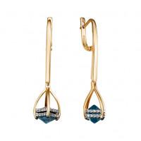 Золотые серьги подвесные с топазами и фианитами ЮИС125-5673тл