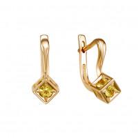 Золотые серьги с цитринами ЮИС120-5677цт