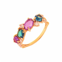 Золотое кольцо с ситалом и фианитами ДП312416