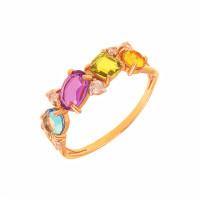 Золотое кольцо с ситалом и фианитами ДП312414